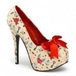 Pleaser Üzeri Kalp Baskılı Gizli Platformlu Ayakkabı ( Krem Renkli ) Kadın Krem