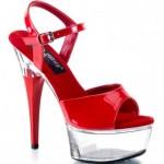 Pleaser Abiye Platform Topuklu Ayakkabı Kırmızı Kadın Kırmızı Şeffaf