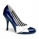 Pleaser Gemici Fiyonklu Lacivert Ayakkabı Kadın Lacivert - Beyaz
