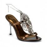 Pleaser Metal Topuklu Ön Kısmı Taşlı Bilekten İnce Zincirle Bağlı Abiye Ayakkabı Kadın Bronz