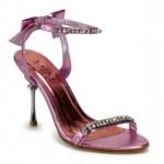 Pleaser Metal Topuklu Arka Fiyok Süslü Bilek Ve Üst Bant Taşlı Ayakkabı Kadın Pembe