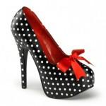 Pleaser Puantiye Baskılı Gizli Platformlu Ayakkabı Kadın Siyah - Beyaz