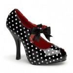 Pleaser Puantiyeli Burnu Acık Ayakkabı Kadın Siyah - Beyaz
