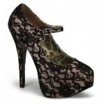 Pleaser Renkli Saten Dantelli Ayakkabı Nude Kadın Siyah Ten Rengi
