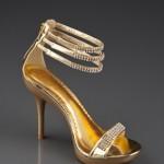 altın rengi dore abiye ayakkabı