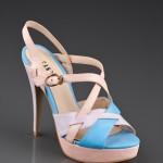 mavi pembe topuklu ayakkabı