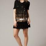 siyah pullu dantel elbise