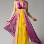 Sarı eflatun Sırtı Açık Elbise