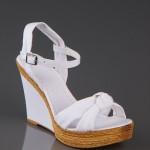 Beyaz Keten sandalet