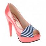platformlu çizgili ayakkabılar