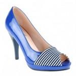 saks mavisi çizgili ayakkabılar