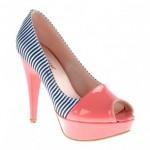 yüksek ökçeli çizgili ayakkabılar