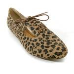 leopar desenli oxford ayakkabı