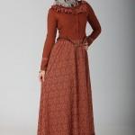 kiremit rengi tesettürlü elbiseler