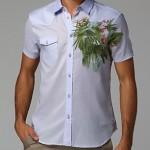 roberto cavalli lila çiçekli erkek gömleği
