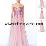 Pembe Straplez Pul Payet İşli Uzun Şifon Elbise fiyatı 795 lira