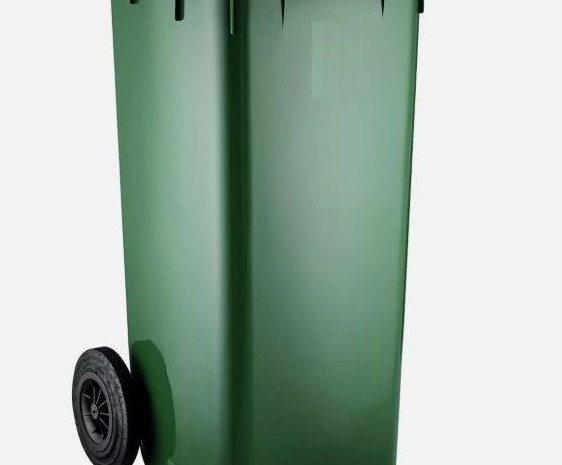 120 litrelik kaliteli kalın tekerlekli plastik çöp kovası