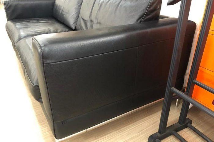 ikinci el ikea siyah deri koltuk kanepe